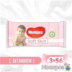 Салфетки влажные Huggies Soft Skin Triplo 2+1 (56 х 3 шт) (5029053550213)