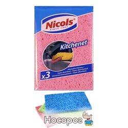 Губки кухонные Nicols Kitchenet целлюлозные 3 шт (5901718422328)