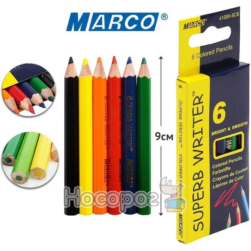Фото Карандаши цветные Marco 4100H-6CB (короткие)