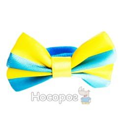 Резинка для волос желто-голубые бантики