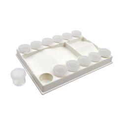 Палітра пласт. прямокутна з лунками 20,5х15х3см. + 12 баночок з крішечкой, D.K.ART & CRAFT