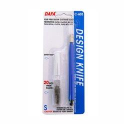 Нож макетный С-603, пластиковая ручка, 20 сменных лезвий, DAFA