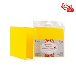 Набор заготовок для открыток 5шт, 15,5х15,5см, №2, желтый, 220г/м2, ROSA TALENT