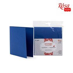 Набор заготовок для открыток 5шт, 15,5х15,5см, №4, тёмно-синий, 220г/м2, ROSA TALENT