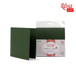 Набор заготовок для открыток 5шт, 15,5х15,5см, №11, темно-зеленый, 220г/м2, ROSA TALENT