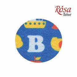 Фетр листовий (поліестер), 21,5х28 см, принт, Букви на синьому, 180г / м2, ROSA TALENT