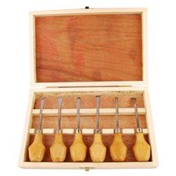 Набір різців по дереву, 6шт., Дерев. пенал, (11532), D.K.ART & CRAFT