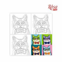 Холст на картоне с контуром, «Pop Art Cat», 30*30, хлопок, акрил ROSA START