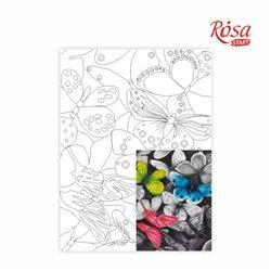 Холст на картоне с контуром, Бабочки № 1, 30*40, хлопок, акрил, ROSA START