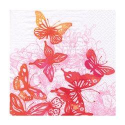 """Декупажные салфетки """"Удивительные бабочки"""", красные, 33*33 см, 17,5 г/м2, 20 шт, ti-flair"""