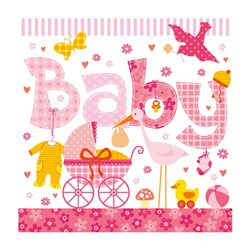 "Декупажные салфетки ""Baby"", розовые, 33*33 см, 18,5 г/м2, 20 шт, Ambiente"
