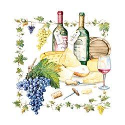 "Декупажние серветки ""Вино і сир"", 33 * 33 см, 18,5 г / м2, 20 шт, Ambiente"
