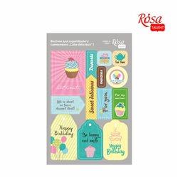 """Высечки для скрапбукинга, самоклеящиеся """"Cake delicious"""" 1, картон, 12,8х20см, ROSA TALENT"""