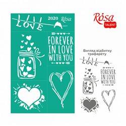 """Трафарет багаторазовий самоклеющийся, №2020, 13х20см, Елементи й написи, Серія """"Love"""", ROSA TALENT"""