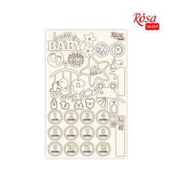 """Чипборд для скрапбукинга """"Детские мотивы"""" 1, белый картон, 12,6х20см, ROSA TALENT"""