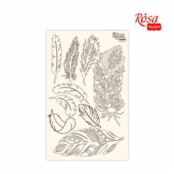 "Чипборд для скрапбукинга ""Кружево"" 4, перья, белый картон, 12,6х20см, ROSA TALENT"