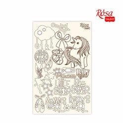 """Чипборд для скрапбукинга """"Детские мотивы"""" 3, белый картон, 12,6х20см, ROSA TALENT"""