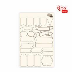 """Чипборд для скрапбукинга Классический """"Теги"""", белый картон, 12,6х20см, ROSA TALENT"""