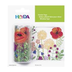 """Лента самоклеющаяся, для стеклянных поверхностей, """"Полевые цветы"""", Прозрачная, 7,5 см * 2 м, Heyda"""