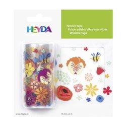 """Лента самоклеющаяся, для стеклянных поверхностей, """"Цветы"""", Прозрачная, 7,5 см * 2 м, Heyda"""
