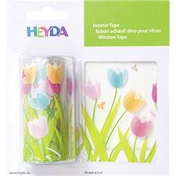 """Лента самоклеющаяся, для стеклянных поверхностей, """"Тюльпани"""", Прозрачная, 7,6 см*2м, Heyda"""