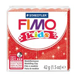 Пластика Fimo kids, Червона з блискітками, 42г, Fimo