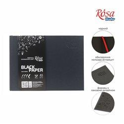 Блокнот A5 (14,8х21см), горизонтальний, чорний папір, 80г / м, 96л., ROSA Studio