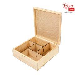 Шкатулка деревянная с замком, 5 ячеек, 24х24х8см, ROSA TALENT