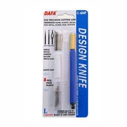 Нож макетный C-604P, пластиковая ручка, 8 сменных лезвий + 4 насадки, DAFA