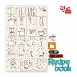 "Чипборд для скрапбукинга ""Recipe book"" 2, белый картон, 12,6х20 см, ROSA TALENT"
