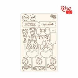 "Чипборд для скрапбукинга ""Cake delicious"" 2, белый картон, 12,8х20см, ROSA TALENT"