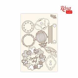 "Чипборд для скрапбукинга ""Floral Poem"" 4, белый картон, 12,8х20см, ROSA TALENT"
