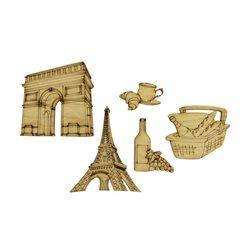 """Набір заготовок для декорування """"Франція"""", фанера, 5 шт"""