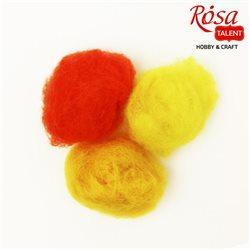 """Набір вовни для валяння кардочесаної """"Жовті відтінки"""" (K2003, K2009, K3006), 3 цв.х10 г, ROSA TALENT"""