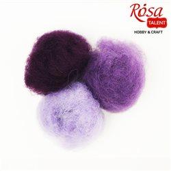"""Набір вовни для валяння кардочесаної """"Фіолетові відтінки"""" (К4025, К4014, К4026), 3 цв.х10 г, ROSA TALENT"""