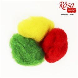 """Набор шерсти для валяния кардочесанной """"Ассорти"""" (K3004, K2003, K5006), 3 цв.х10 г, ROSA TALENT"""