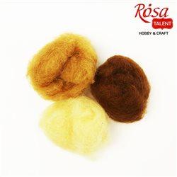 """Набор шерсти для валяния кардочесанной """"Натуральные оттенки"""" (K2005, K2020, K2012), 3 цв.х10 г, ROSA TALENT"""