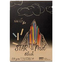 Склейка для рисунке STAR T А4, 120г/м2, 20л, черная бумага, SMILTAINIS