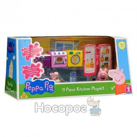 Ігровий набір Peppa - КУХНЯ ПЕППИ (кухонні меблі та техніка, 3 фігурки)