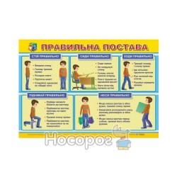 """Плакат Правильная осанка """"Учебники и пособия"""" (укр.)"""