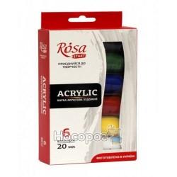 Набір акрилових фарб, ROSA START, 6*20мл