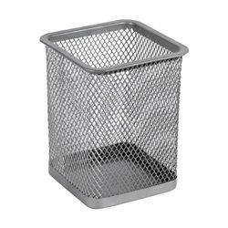 Подставка для ручек Axent, 80х80х100 мм, квадратная, металлическая сетка, серебристая