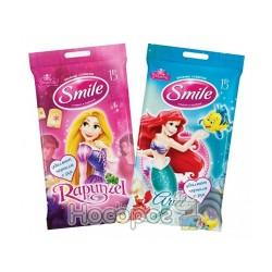 Влажные салфетки Smile Принцессы mix 15 шт