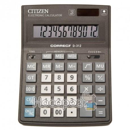 Фото Калькулятор Citizen Correct D-312 бухгалтерський, 12 р.