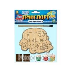 Дерев'яна іграшка Яскрава розмальовка Пучков Машина