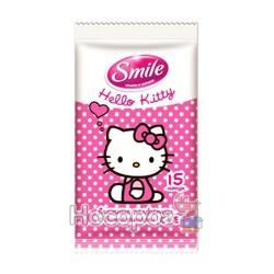 Влажные салфетки смайл Hello Kitty mix (15шт)