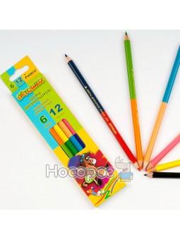 Олівці кольорові Marco 1011- 6CB двосторонні Пегашка