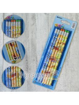 Олівці прості Marco НB 1000EB-6BL Colorite з гумкою