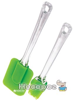 Набор кухонных принадлежностей Renberg Лопатка + кисточка Зелений (RB-3653-GR)