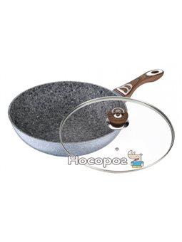 Сковорода-вок Wellberg Sogdiana d 28 см со стеклянной крышкой (psg_WB-3390)